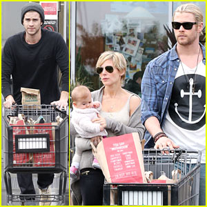 Chris &#038; Liam Hemsworth: Christmas Eve Dinner Shopping!