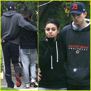 Mila Kunis & Ashton Kutcher: Romantic Dog Walk!