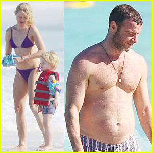 Naomi Watts: St Barts Beach Fun with Shirtless Liev Schreiber!