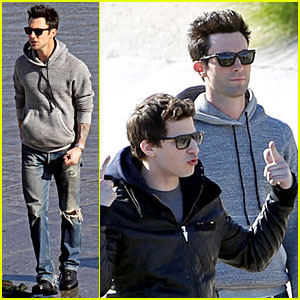 Adam Levine & Andy Samberg: Music Video Shoot with The Lonely Island!