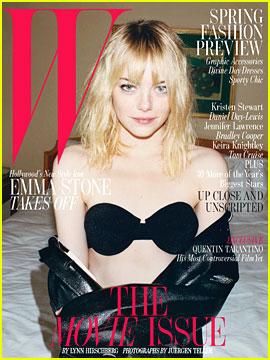 Emma Stone Bares Bra for 'W' Magazine's Movie Issue Cover