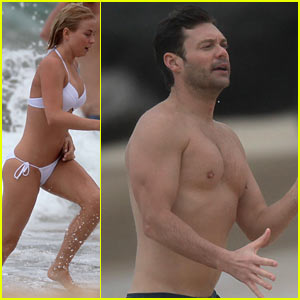 Julianne Hough: Bikini Swimming with Shirtless Ryan Seacrest!