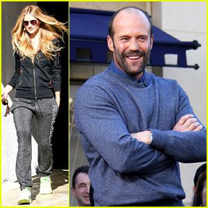 Rosie Huntington-Whiteley Works Out, Jason Statham Visits 'Extra'