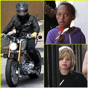 Brad Pitt Rides His Motorcycle, Shiloh &#038; Zahara Get FroYo!