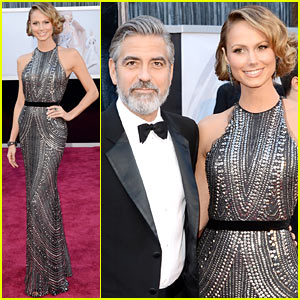 George Clooney: Oscars 2013 Red Carpet with Stacy Keibler