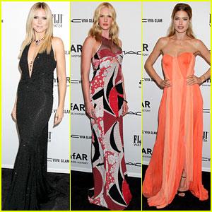 Heidi Klum & Anne V - amfAR New York Gala 2013