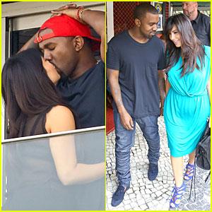Pregnant Kim Kardashian & Kanye West: Kisses in Rio! | Kanye West, Kim ...