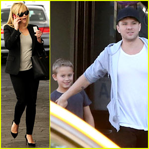 Reese Witherspoon Hits Salon, Ryan Phillippe Hangs with Deacon