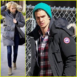 Emma Stone & Andrew Garfield Bundle Up in Canada Goose