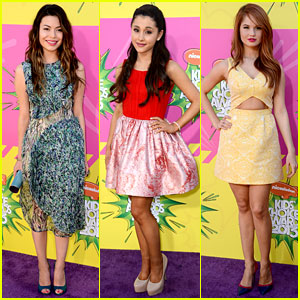 Miranda Cosgrove , Ariana Grande , and Debby Ryan hit the purple and