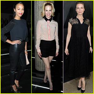 Zoe Saldana & January Jones: Miu Miu Fashion Show!