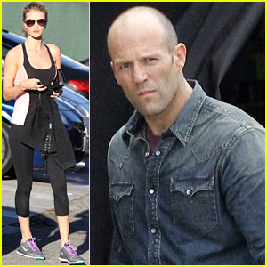 Rosie Huntington-Whiteley Works Out, Jason Statham Films 'Heat'
