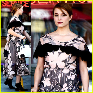 Dianna Agron Wears Floral Dress with Cape to AT&T Store