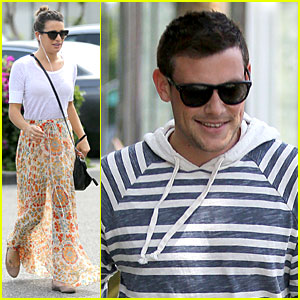 Lea Michele's Sheer Grocery Run, Cory Monteith's Striped Office Meeting!