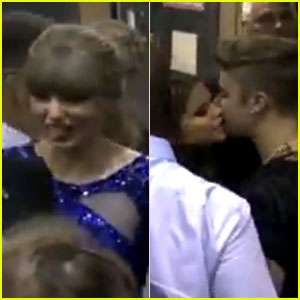 Taylor Swift Sticks Tongue Out for Selena &amp;amp; Justin's Kiss 