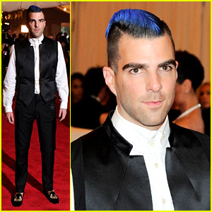 Zachary Quinto: Blue Hair on Met Ball 2013 Red Carpet
