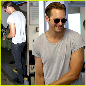 Alexander Skarsgard Flaunts Buff Biceps at LAX Security Line