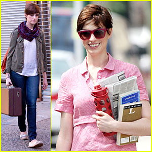 Anne Hathaway: Pink Book Carrier on 'Song One' Set!