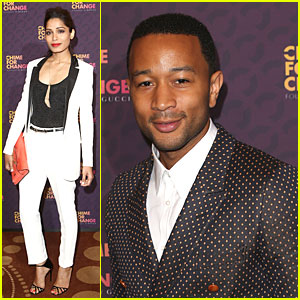 Freida Pinto & John Legend: Chime for Change Concert Media Room!