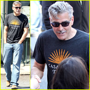 George Clooney Greets Fans on 'Monuments Men' Set