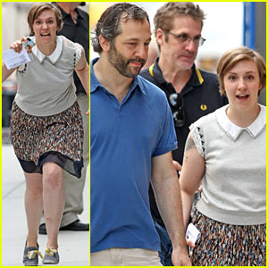 Lena Dunham Charges Cameras with Judd Apatow!