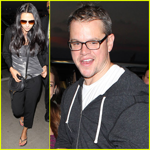 Matt Damon: LAX Arrival with Wife Luciana!