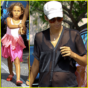 Pregnant Halle Berry: Sheer Top at Bristol Farms with Nahla!