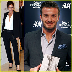 Victoria Beckham Promotes Fashion Line, David Beckham Greets at H&M