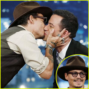 Johnny Depp Kisses Jimmy Kimmel During Talk