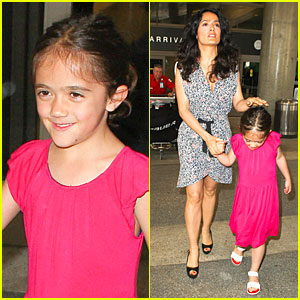 Salma Hayek & Valentina: LAX Arrival Before 'Grown-Ups 2' Promotion!