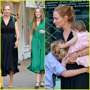 Uma Thurman: Saint-Tropez Trip with Arpad Busson & Kids!