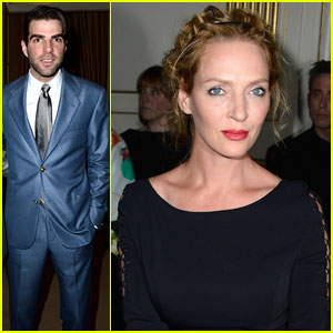 Zachary Quinto & Uma Thurman: Front Row at 'Versace'