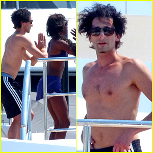 Adrien Brody: Shirtless Yacht Yoga with Naomi Campbell!
