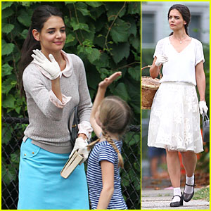 Katie Holmes Plays Hopscotch on 'Miss Meadows' Set!