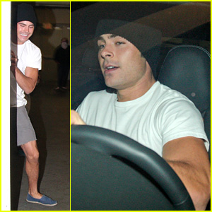 Zac Efron Catches a Movie with Male Friend
