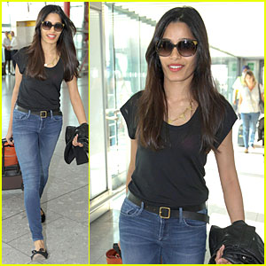 Freida Pinto Departs London for Toronto Film Festival!