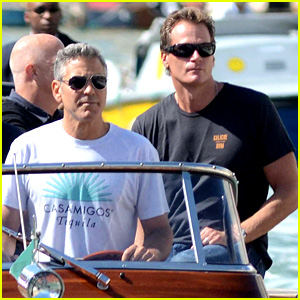 George Clooney Boats Around Venice with Rande Gerber