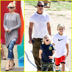 3426fbb23eb0 Gwen Stefani wears a loose fitting gray sweatshirt as she drops off her two  sons Kingston, 7, and Zuma, 5, at school on Tuesday (September 10) in Los  ...
