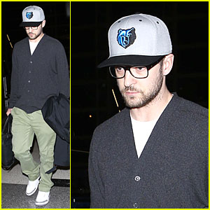 Justin Timberlake Supports Memphis Grizzlies at LAX Airport!