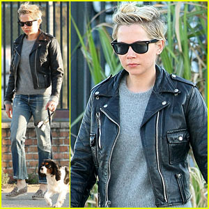 Michelle Williams Goes Leather Jacket Chic for Dog Walk