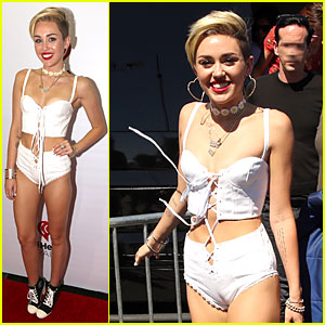 Miley Cyrus Flaunts Body at iHeart Radio Music Festival Village!