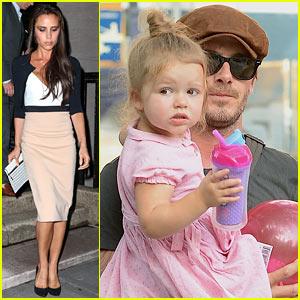 Victoria Beckham Works While David Beckham & Harper Play!