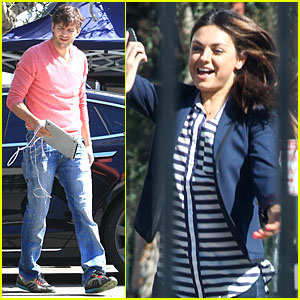Ashton Kutcher: Mila Kunis Visits 'Two and a Half Men'!