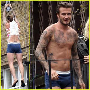 David Beckham: Shirtless & Underwear-Clad for Aerial H&M Shoot!