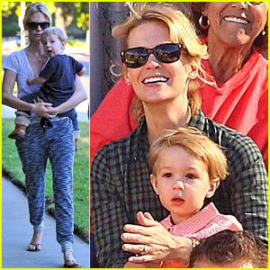 January Jones Hits the Pumpkin Patch with Xander!