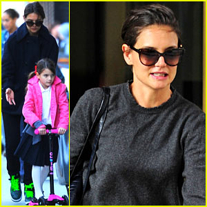 Katie Holmes Watches Suri Scooter to School