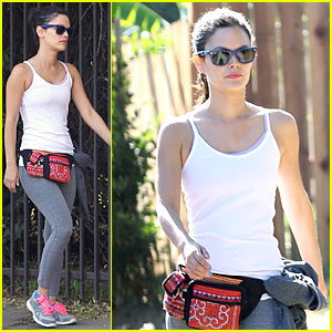 Rachel Bilson Jogs with Red Fanny Pack!