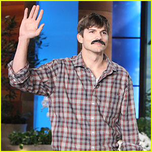 Ashton Kutcher Sports Fake 'Movember Mustache' on 'Ellen'!