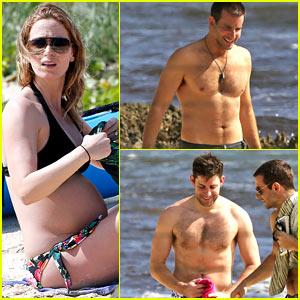 Emily Blunt Displays Pregnant Bikini Body, Bradley Cooper & John Krasinski Go Shirtless!