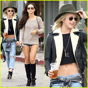 Julianne Hough Bares Flat Tummy at Lunch with Cara Santana!